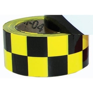 "2"" x 36 Yards Vinyl Tape - Black/Yellow Checkered"