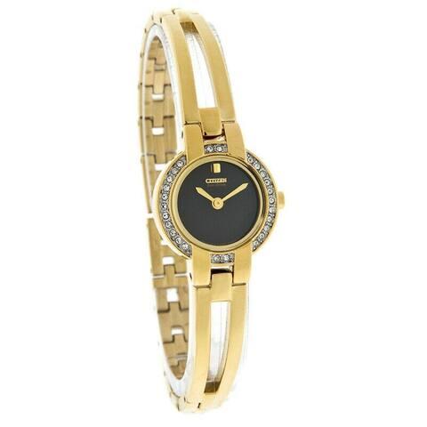 Citizen Women's EW9992-67E 'Eco-Drive' Gold-Tone Stainless Steel Watch - Black