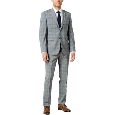 Penguin Mens Slim Fit Plaid Dress Pants Slacks, Grey, 33W x 32L - 33W x 32L