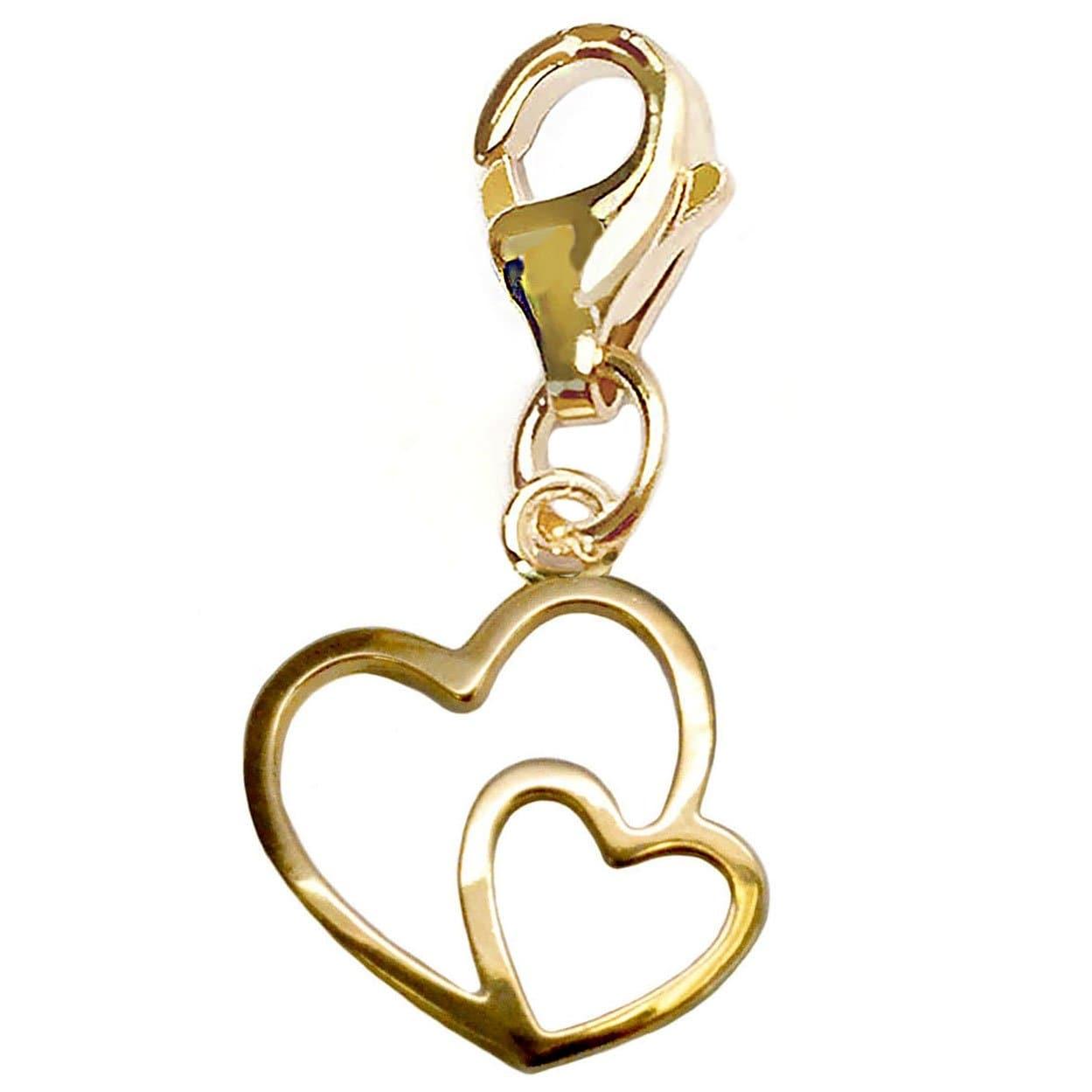 Julieta Jewelry Double Heart Gold Sterling Silver Charm - Thumbnail 0