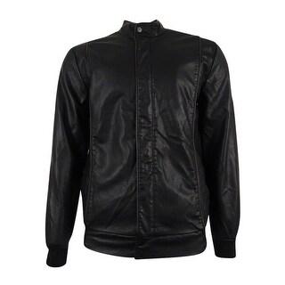 American Rag Men's Faux Leather Bomber Jacket - Deep Black