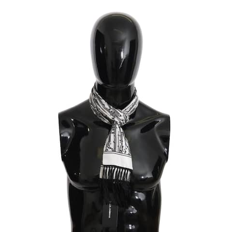 Dolce & Gabbana Black White Floral Silk Fringes Wrap 15cm x 140cm Men's Scarf - one-size