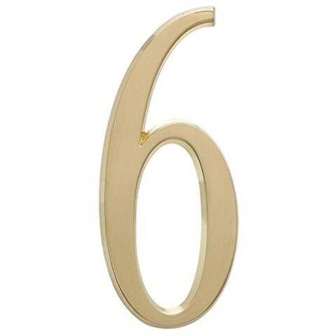 """Whitehall 4.75"""" Wall Hanging Number 6 (Satin Brass)"""