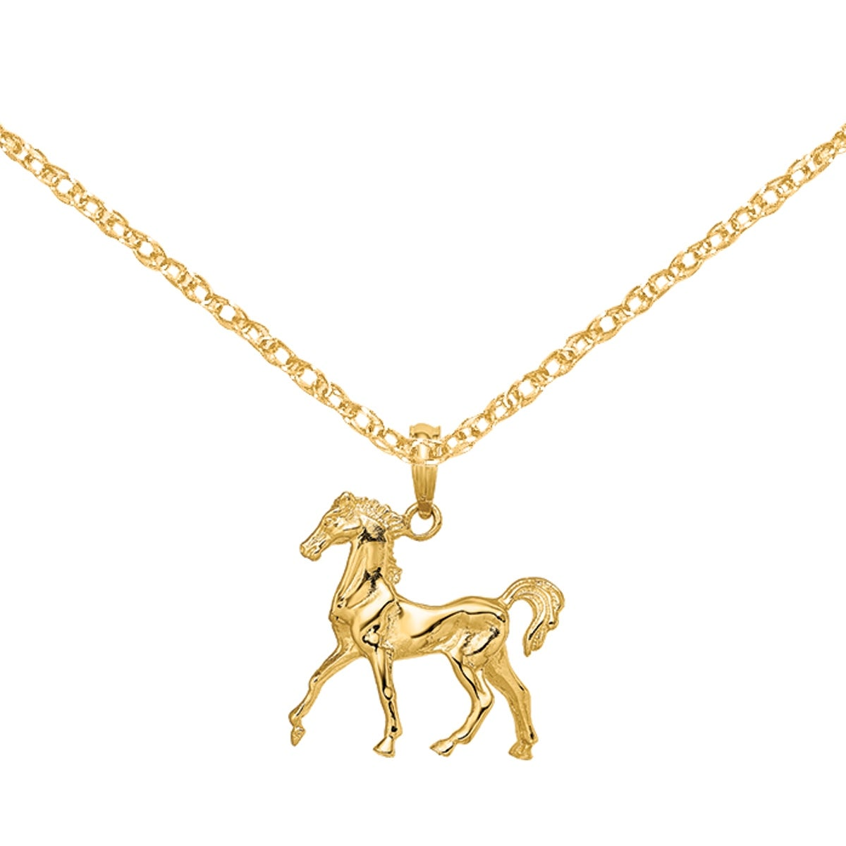 Details about  /14K Yellow Gold 3D Standing Horse Charm Pendant MSRP $409