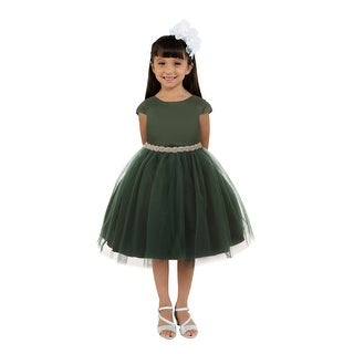 Link to Kids Dream Girls Hunter Green Satin Tulle Rhinestone Christmas Dress Similar Items in Girls' Clothing