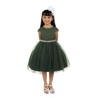 Link to Kids Dream Little Girls Hunter Green Satin Tulle Rhinestone Christmas Dress Similar Items in Girls' Clothing