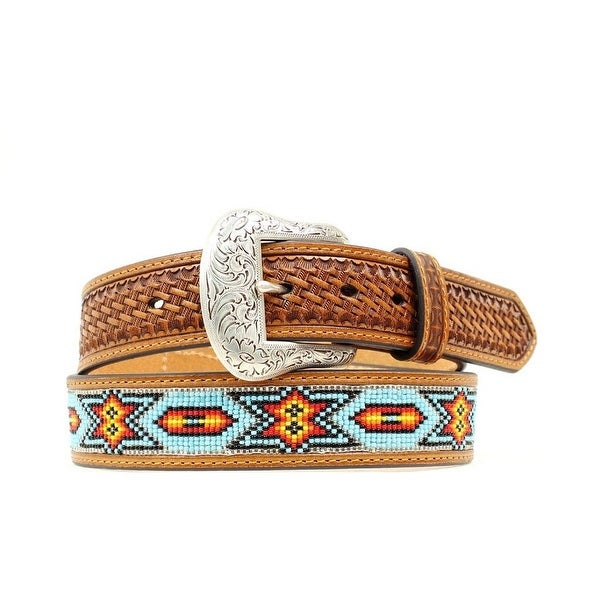 Nocona Western Belt Mens Beaded Inlay Tooled Basket Brown