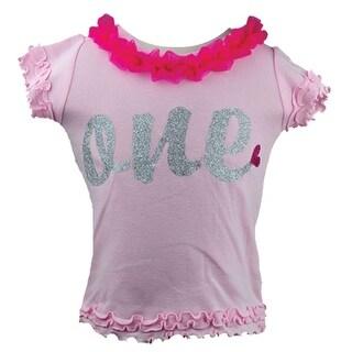Reflectionz Baby Girls Fuchsia Glitter Silver Ruffle T-Shirt 12-18M