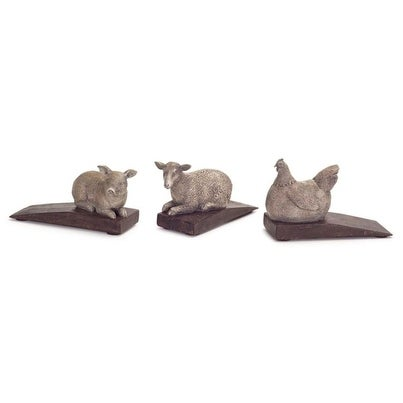 Pack of 9 Country Rustic Hen, Lamb and Pig Door Stoppers 2.5
