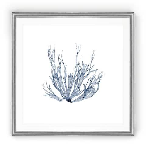 Navy Seaweed IV -Black Framed Print