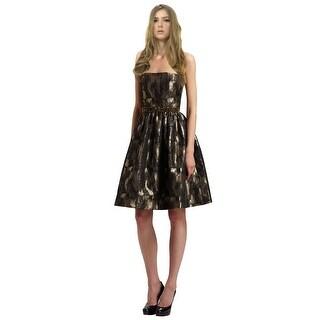 ML Monique Lhuillier Beaded Brocade Strapless Cocktail Dress - 10