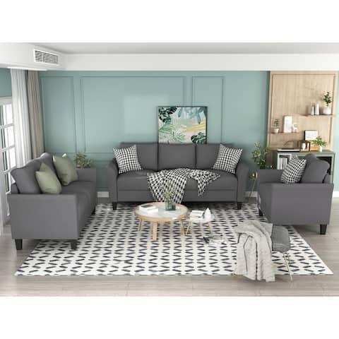 AOOLIVE Home Indoor Polyester-blend 3 Pieces Sofa Set, Living Room Set