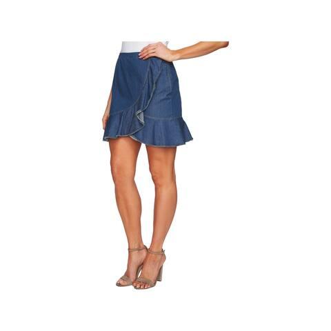 CeCe Womens Summer Denim Skirt Ruffled Hem Cascading