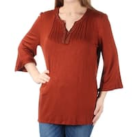 Womens Orange 3/4 Sleeve V Neck Casual Top  Size  M