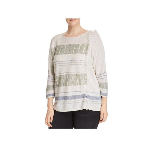Nic + Zoe Womens Pullover Sweater Fringe-Trim Linen