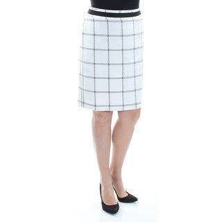Womens Ivory Black Windowpane Print Knee Length Pencil Wear To Work Skirt Size 14