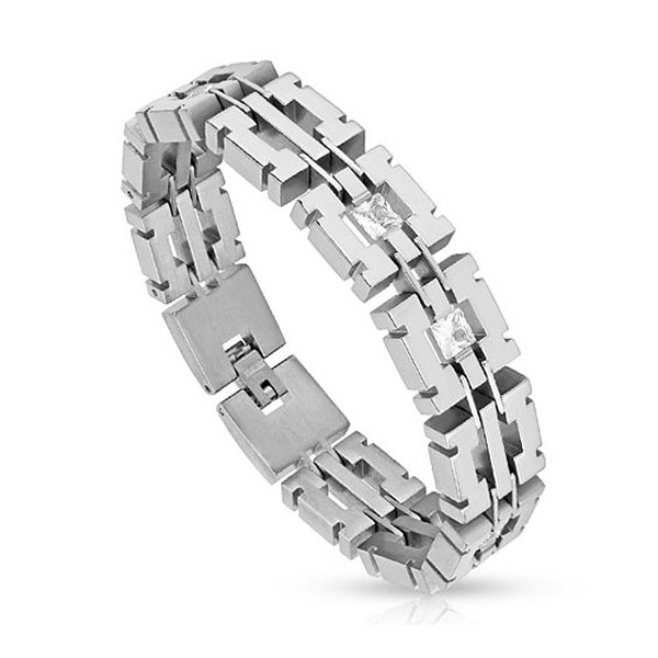 CZs in Square Links Stainless Steel Bracelet  (15 mm) - 8.25 in