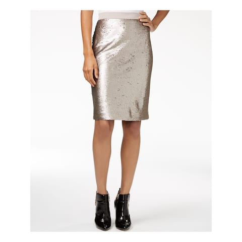 MAISON JULES Womens Gold Sequined Knee Length Pencil Skirt Size 4
