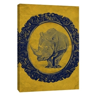 "PTM Images 9-105894  PTM Canvas Collection 10"" x 8"" - ""Framed Rhinoceros in Yellow"" Giclee Rhinoceroses Art Print on Canvas"
