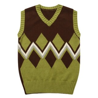 Richie House Little Boys Green Grey Intarsia Artwork Sweater Vest 1-7