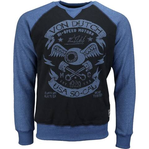 Von Dutch Fleece Tee Mens Top Casual T-Shirt Long Sleeve - Black