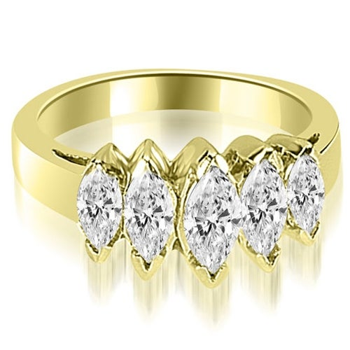 1.75 cttw. 14K Yellow Gold Marquise Diamond 5-Stone Wedding Band