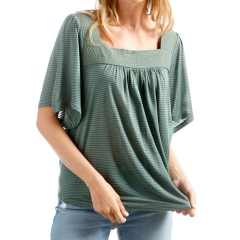 Lucky Brand Green Womens Size XL Shadow-Stripe Square-Neck Knit Top