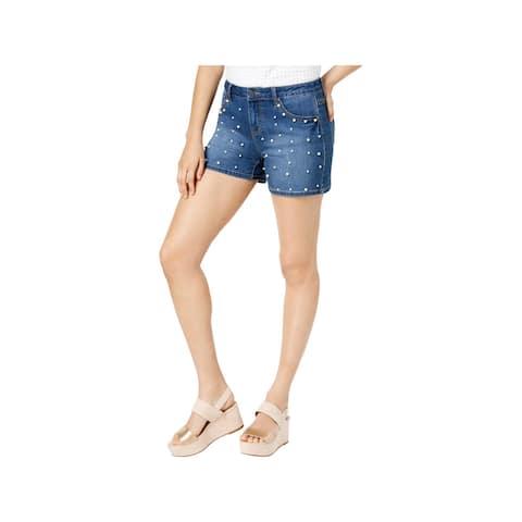 Earl Jean Womens Denim Shorts Embellished Mid-Rise - 16