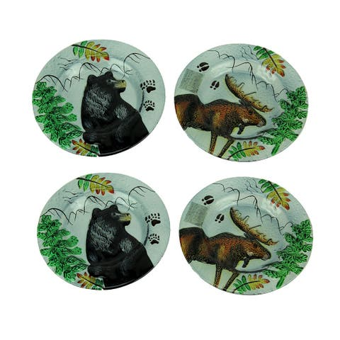 Set of 4 Lodge Black Bear and Moose Round Art Glass Salad Plates - 0.68 X 8 X 8 inches