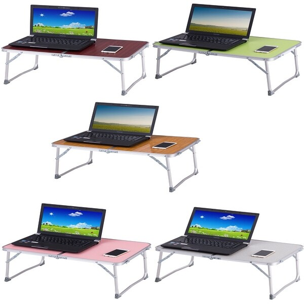 White with Tray Stand Desk Portable Folding Notebook or Laptop Table