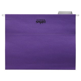 School Smart Mediumweight Manila Stock 1/5 Cut Colored Hanging File Folder, Letter, Purple, Pack of 25