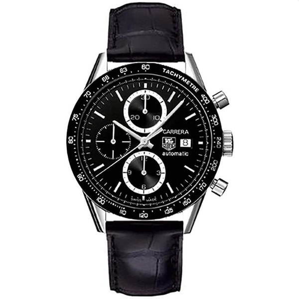 Tag Heuer Men's CV2010.FC6266 'Carrera' Chronograph Black Leather Watch. Opens flyout.