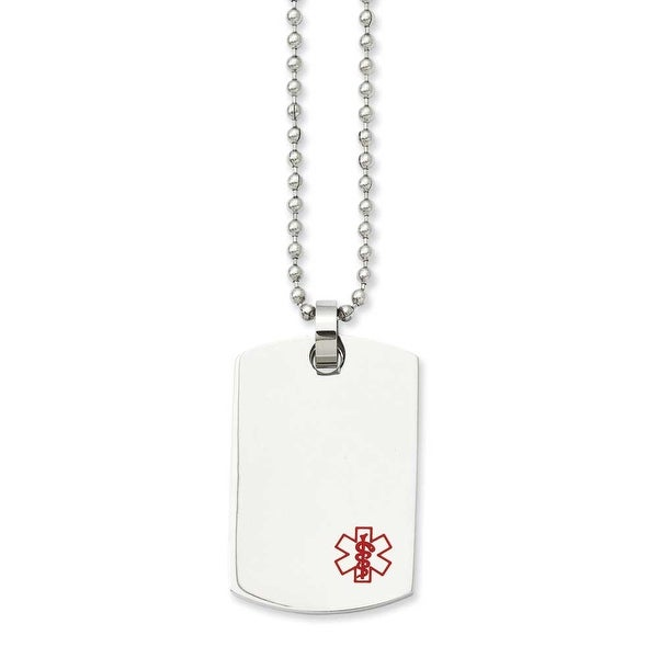 Stainless Steel Dogtag Medical Pendant 24in Necklace (2 mm) - 24 in