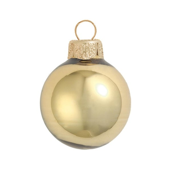 "28ct Shiny Antique Gold Glass Christmas Ornaments 2"" (50mm)"