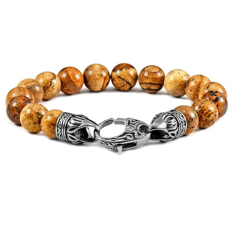 """Natural Stone Antiqued Steel Clasp Beaded Bracelet (10mm) - 8.25"""""""