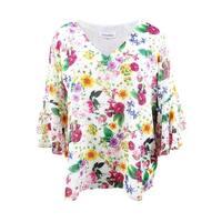 Calvin Klein Women's Plus Size Printed Bell-Sleeve Tunic (3X, White Multi) - White Multi - 3X