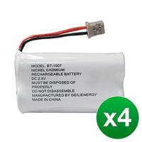 Replacement Battery For Uniden DECT1560 Cordless Phones - BT1007 (600mAh, 2.4V, Ni-MH) - 4 Pack