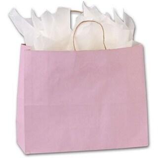 16 x 6 x 12.5 in. Varnish Stripe Shoppers, Light Pink
