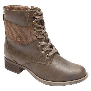Rockport Women's Copley Lace Up Waterproof Boot Stone Leather