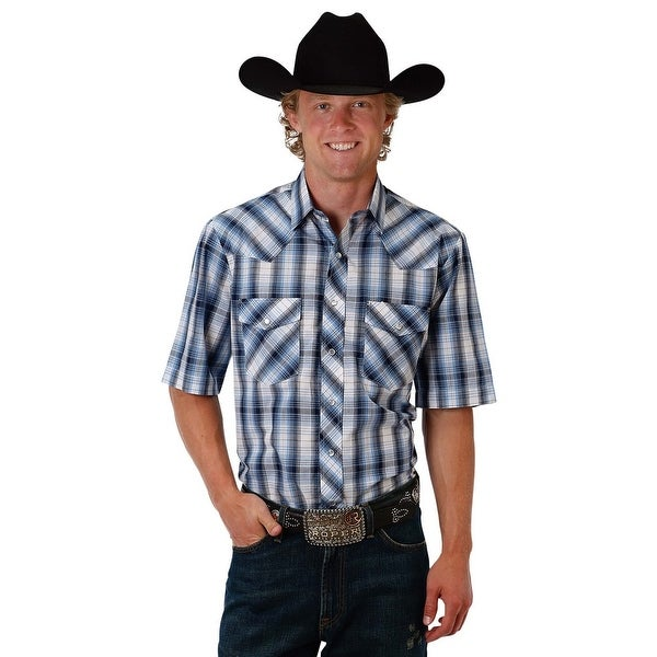 ba89d8c958 Shop Roper Western Shirts Mens S S Snap Plaid Blue - Free Shipping On  Orders Over  45 - Overstock - 17615901