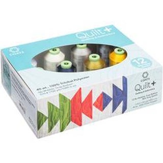 Neutrals 12/Pkg - Quilt + Polytri Thread Boxed Assortment 1100Yd