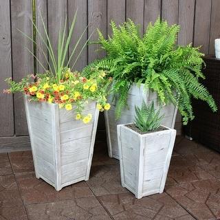 Sunnydaze Fiber Clay Indoor/Outdoor Faux Wood Square Planter Pot - 3-Piece Set - 3-Piece Set