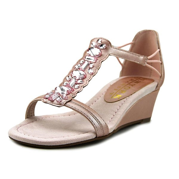 New York Transit Kindred Spirit Women Open Toe Canvas Pink Wedge Sandal