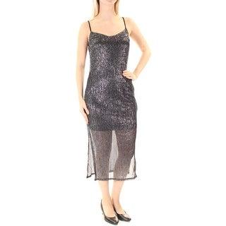 Womens Gray Spaghetti Strap Maxi Sheath Party Dress Size: M