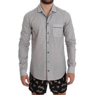 Dolce & Gabbana Dolce & Gabbana White Brown Cotton Pajama Shirt Sleepwear