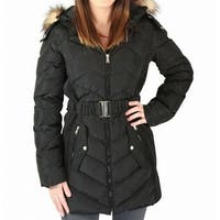 Jessica Simpson Black Womens Size XL Puffer Faux-Fur Trim Jacket