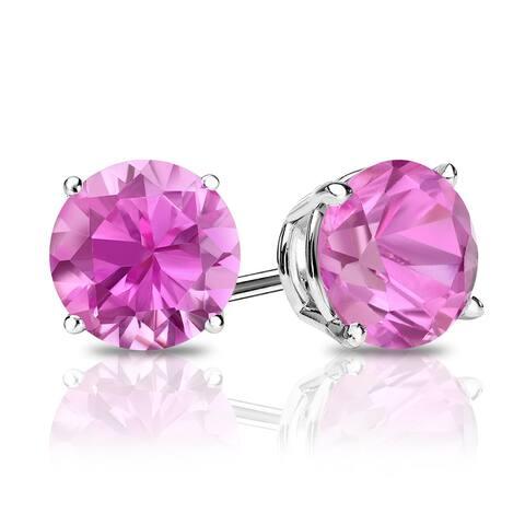 Auriya 14k Gold 1 1/2ctw Pink Sapphire Gemstone Stud Earrings
