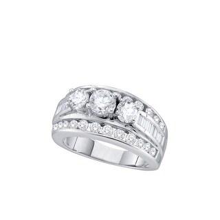 14k White Gold Womens Natural 3-Stone Round Diamond Bridal Wedding Anniversary Ring 2.00 Cttw