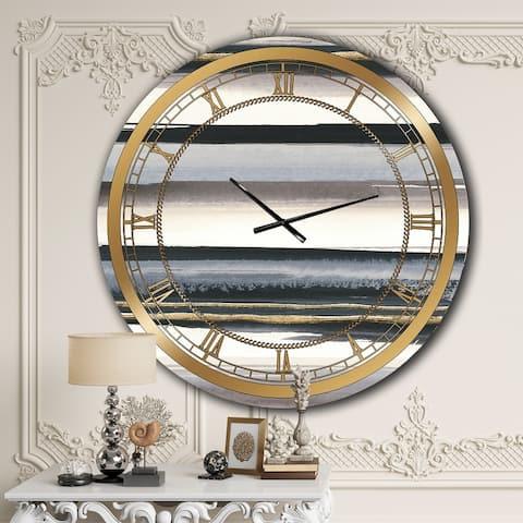 Designart 'Gold Watercolor Amethyst I' Glam Oversized Wall CLock