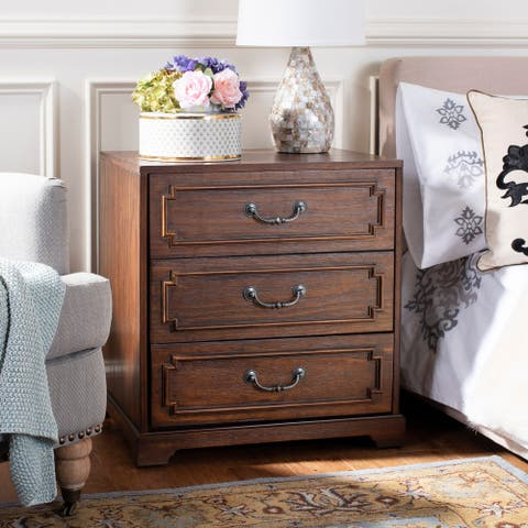 Safavieh Leighton 3 Drawer Nightstand - Mahogany